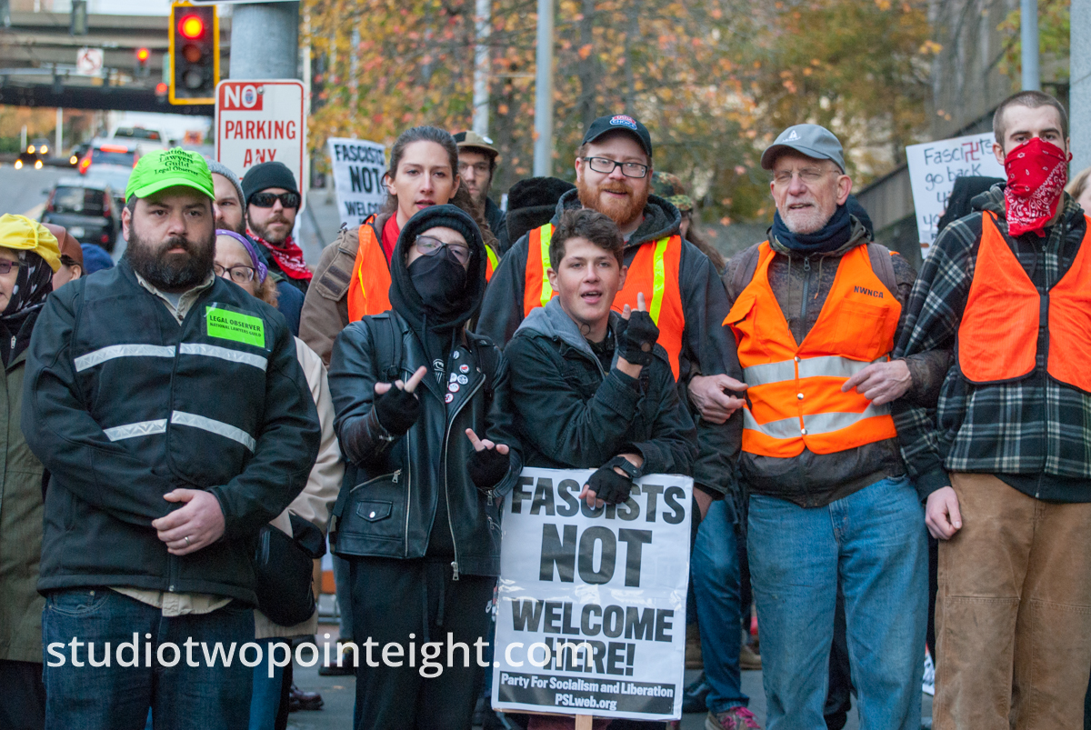 Seattle, Liberty or Death 2 Rally, December 1, 2018, Wider View of Antifa Counter Protesting in Locked Arms Sidewalk Barricade