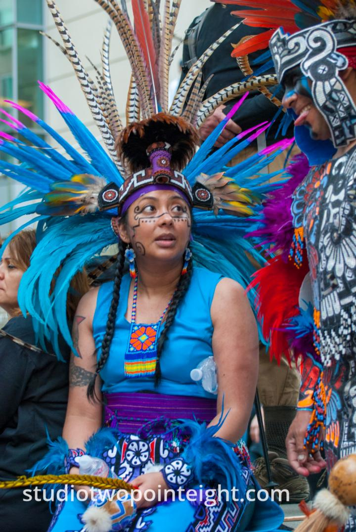 2015 Seattle May Day Immigrant Rally, A Series of Photos Of Indigenous American People In Traditional Dance Costume
