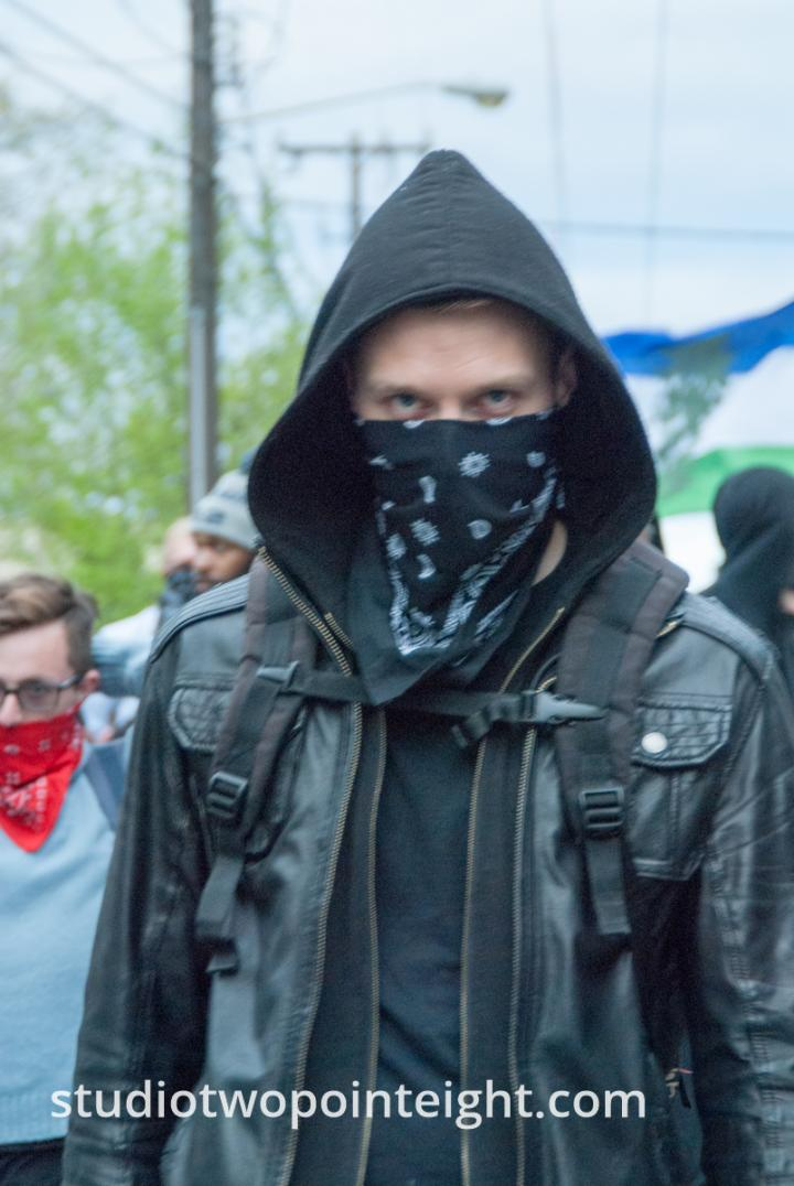2015 Seattle May Day Protest And Mayhem, A Sinister Looking Anarchist Black Bloc Member Glared
