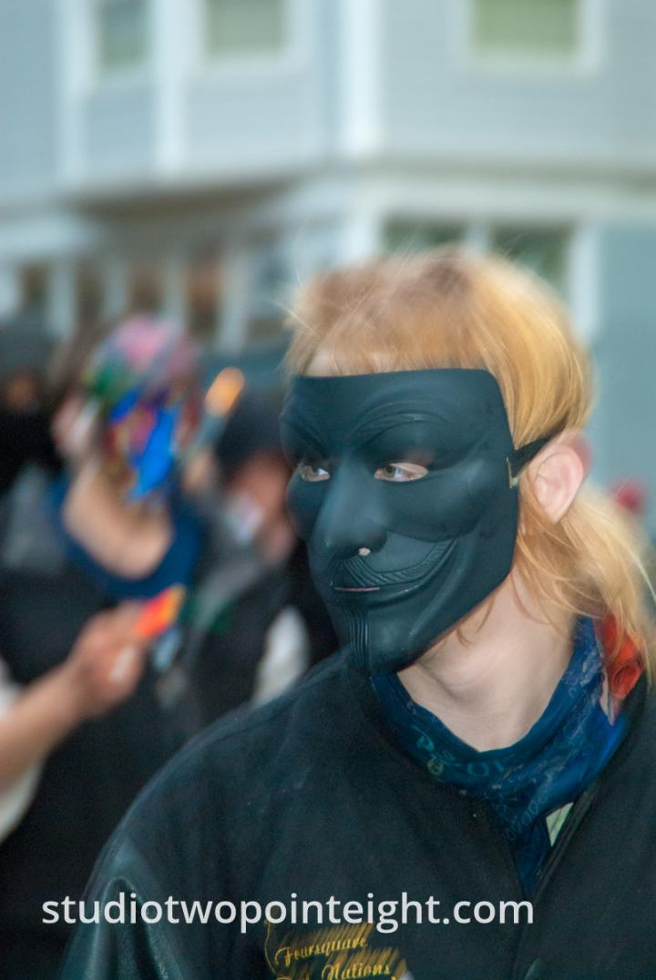 2015 Seattle May Day Protest Riot, Near Dusk A Protester Wore a Ghostly Black Mask