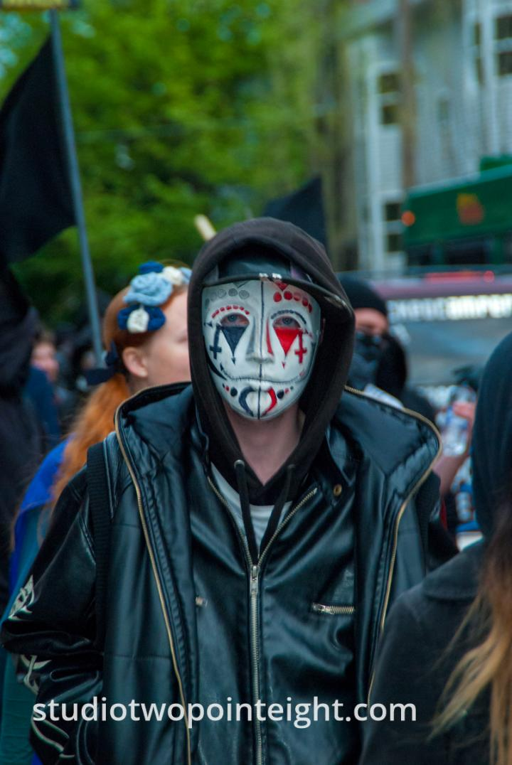 2015 Seattle May Day Protest Riot, Near Dusk A Protester Wore Harlequin Mask