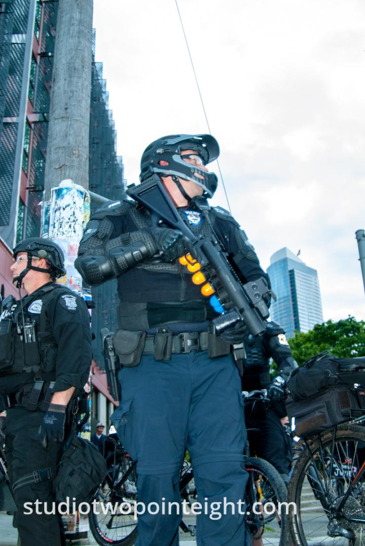 2015 Seattle May Day Protest Riot, Seattle Police Officer Wielded Non Lethal Grenade Rifle