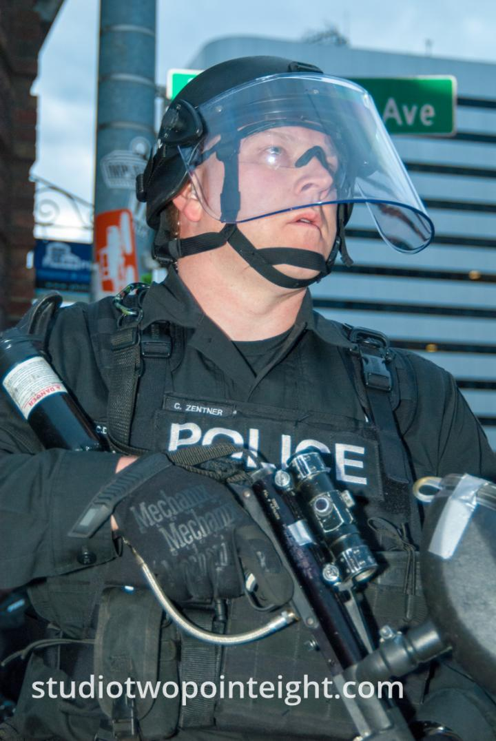 2015 Seattle May Day Protest Riot, Seattle Police Chad Zentner Prepared To Fire a Blast Ball Grenade