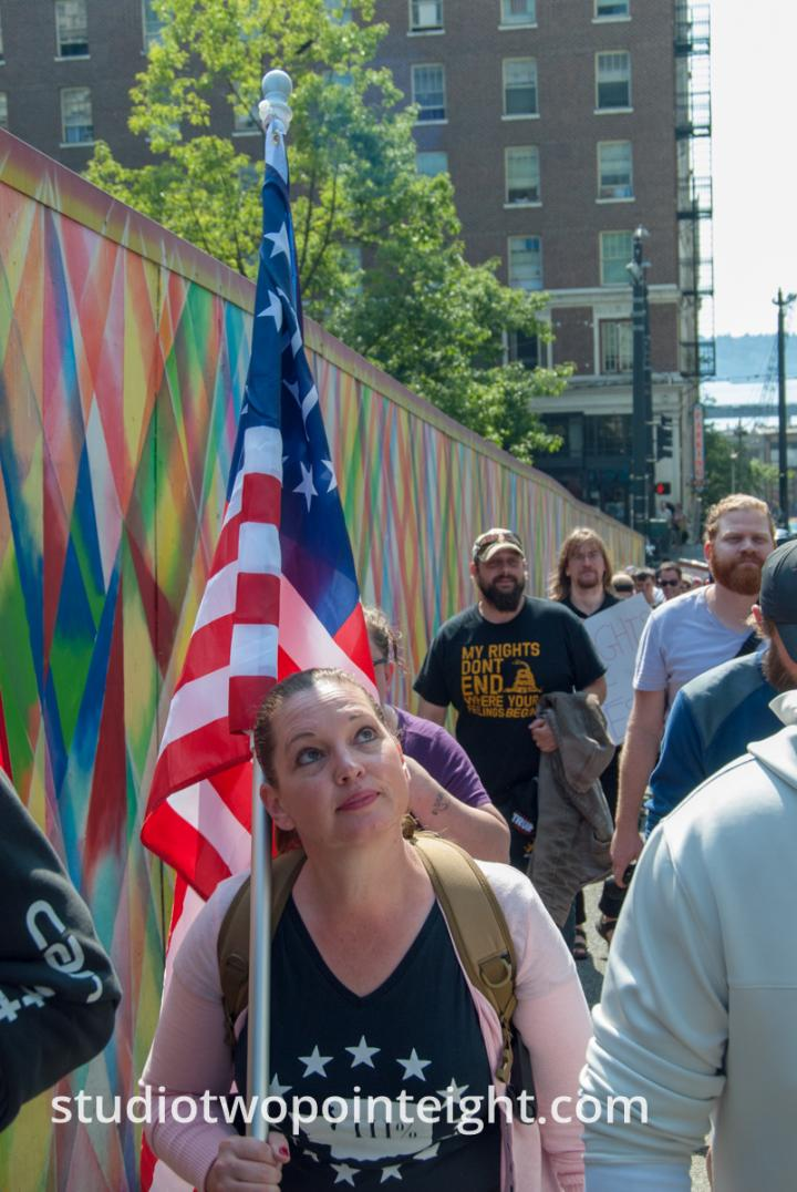 Seattle, Liberty or Death Rally, August 18, 2018, Marchers Through Seattle Streets