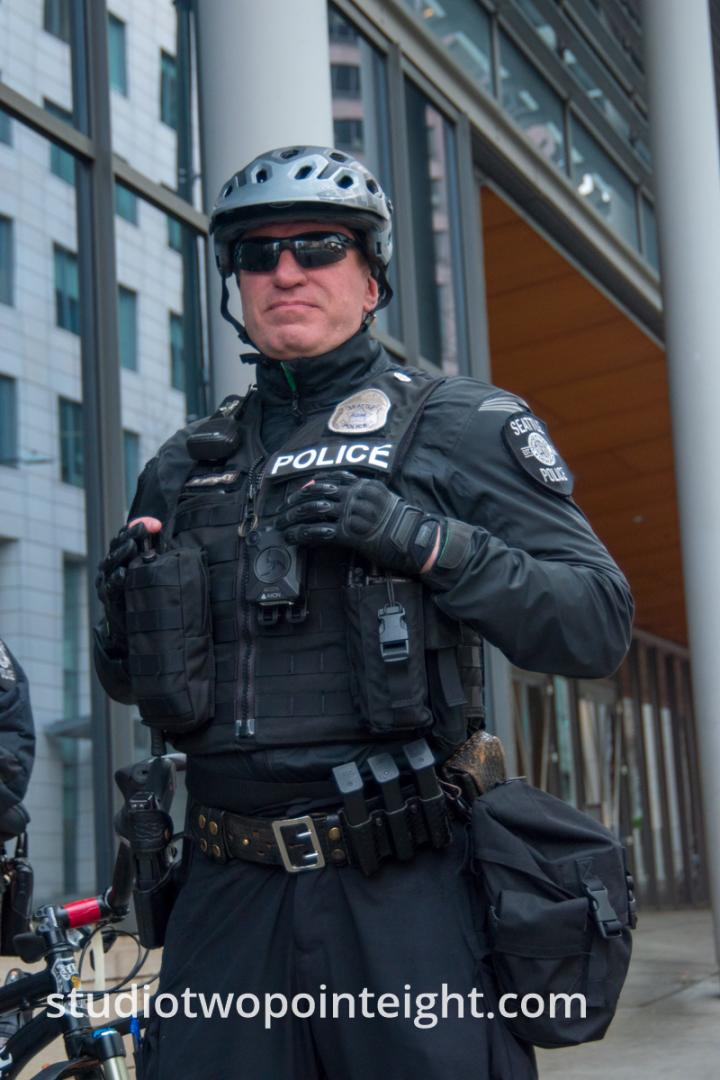 Seattle, Liberty or Death 2 Rally, December 1, 2018, A Seattle Police Officer Posing Like a Comic Book Hero