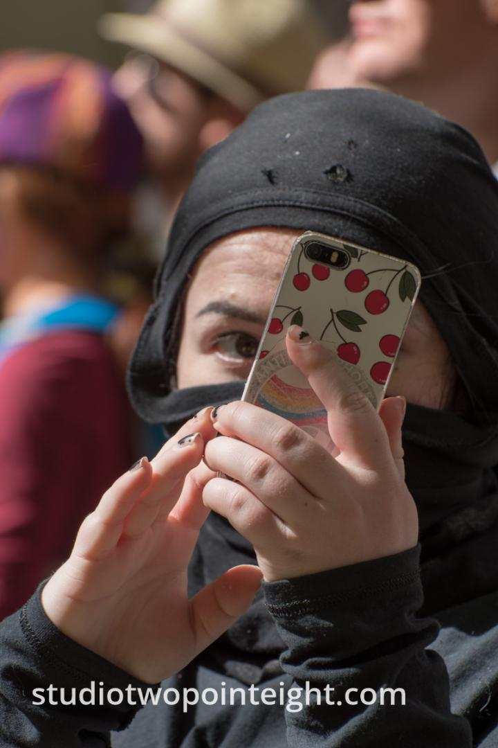 Seattle May 1, 2019 May Day Immigration Rally Female Antifa Black Bloc Terrorist Photographing Being Photographed