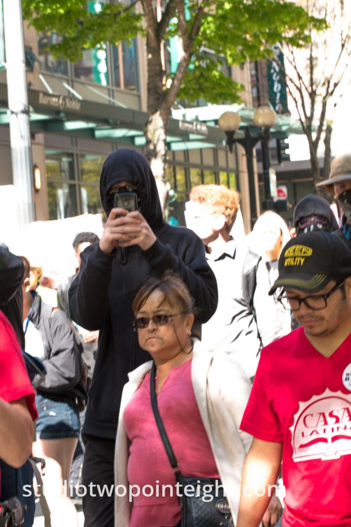 Seattle May 1, 2019 May Day Immigration Rally Antifa Black Bloc Terrorist Photographing Being Photographed