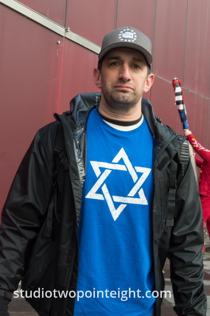 Studio 2.8, January 5, 2020, Seattle City Hall, Jewish Attendee Wore A Star of David Shirt To The Washington Three Percent United Against Hate Event