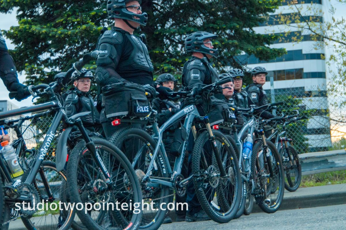 2015 Seattle May Day Protest Mayhem, Seattle Police Officers Created A Bicycle Barricade