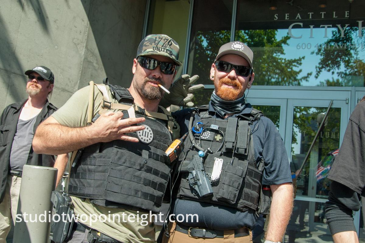 Seattle, Liberty or Death Rally, August 2018, Seattle, Two Happy Three Percent Members
