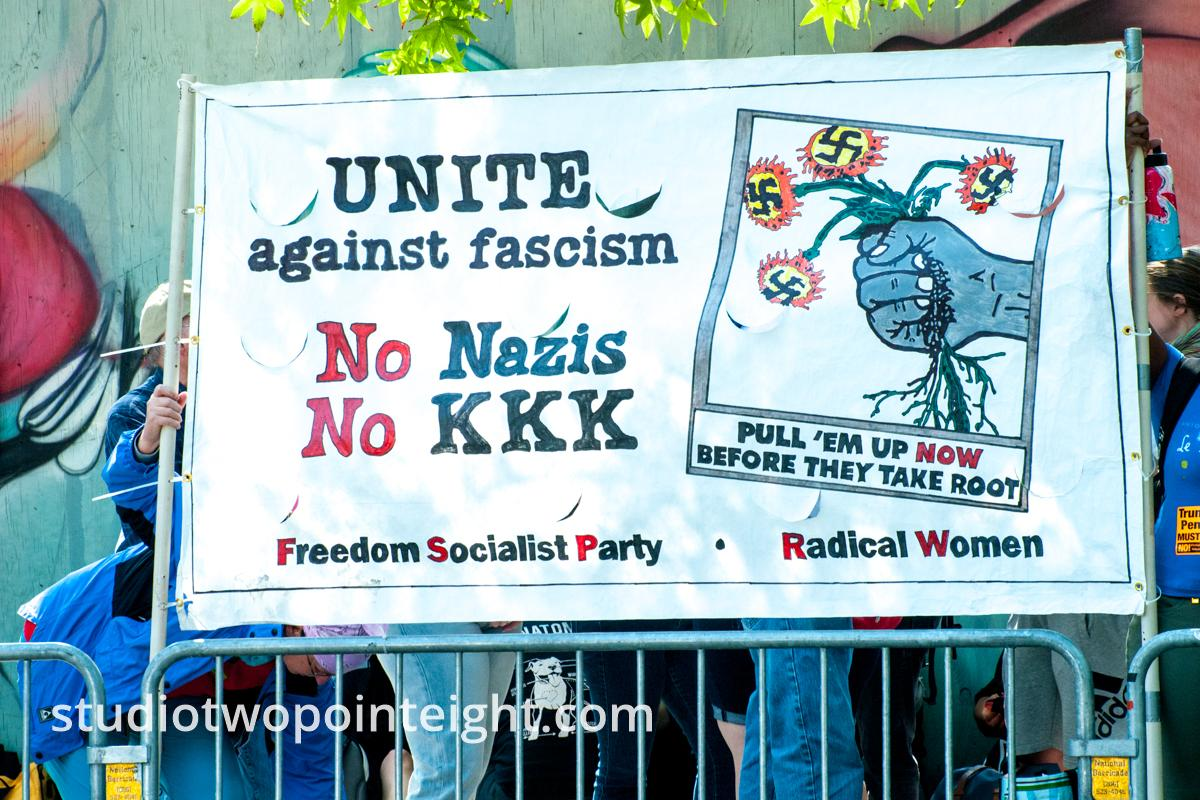 Seattle, August 18, 2018, Counter Protest, Freedom Socialist Party, Banner