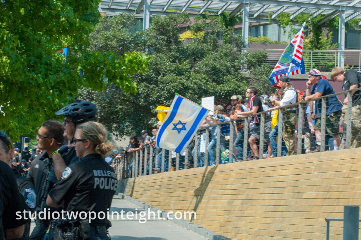 Seattle, August 18, 2018, Liberty or Death Rally Jewish Attendees Flew A Large Israeli Flag