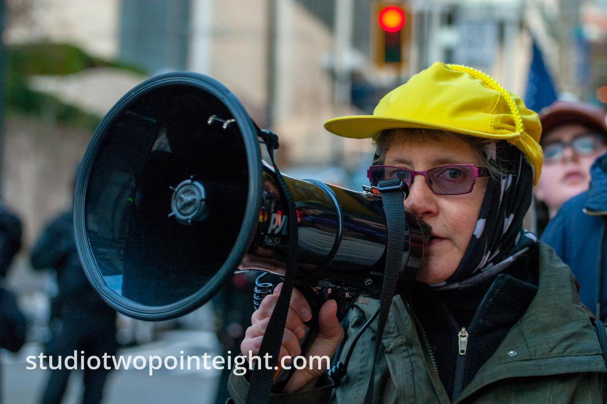 Seattle, Liberty or Death 2 Rally, December 1, 2018, Counter Protester With Amplified Bullhorn
