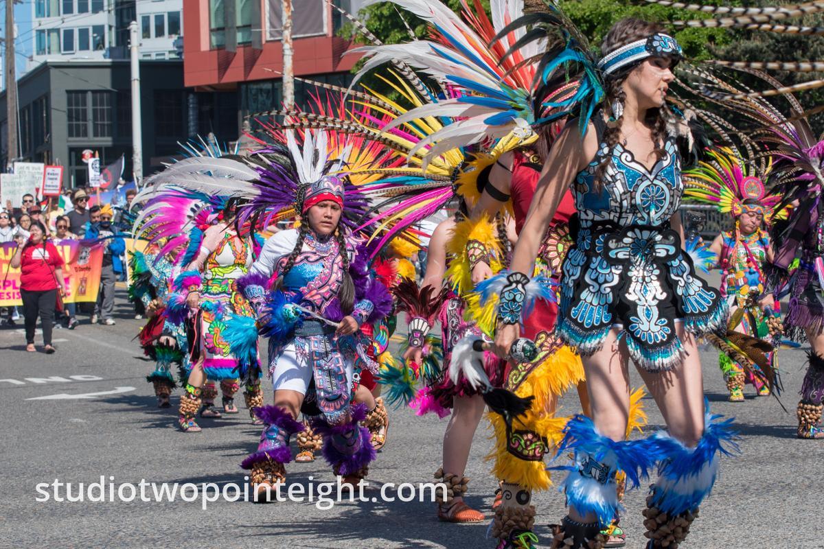 Seattle May 1, 2019 May Day Immigration Rally Ceatl Tonalli Aztec Dancers