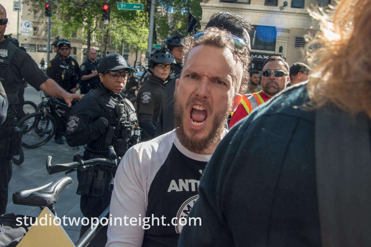 Seattle May 1, 2019 May Day Immigration Rally Antifa Goofball Acting Out