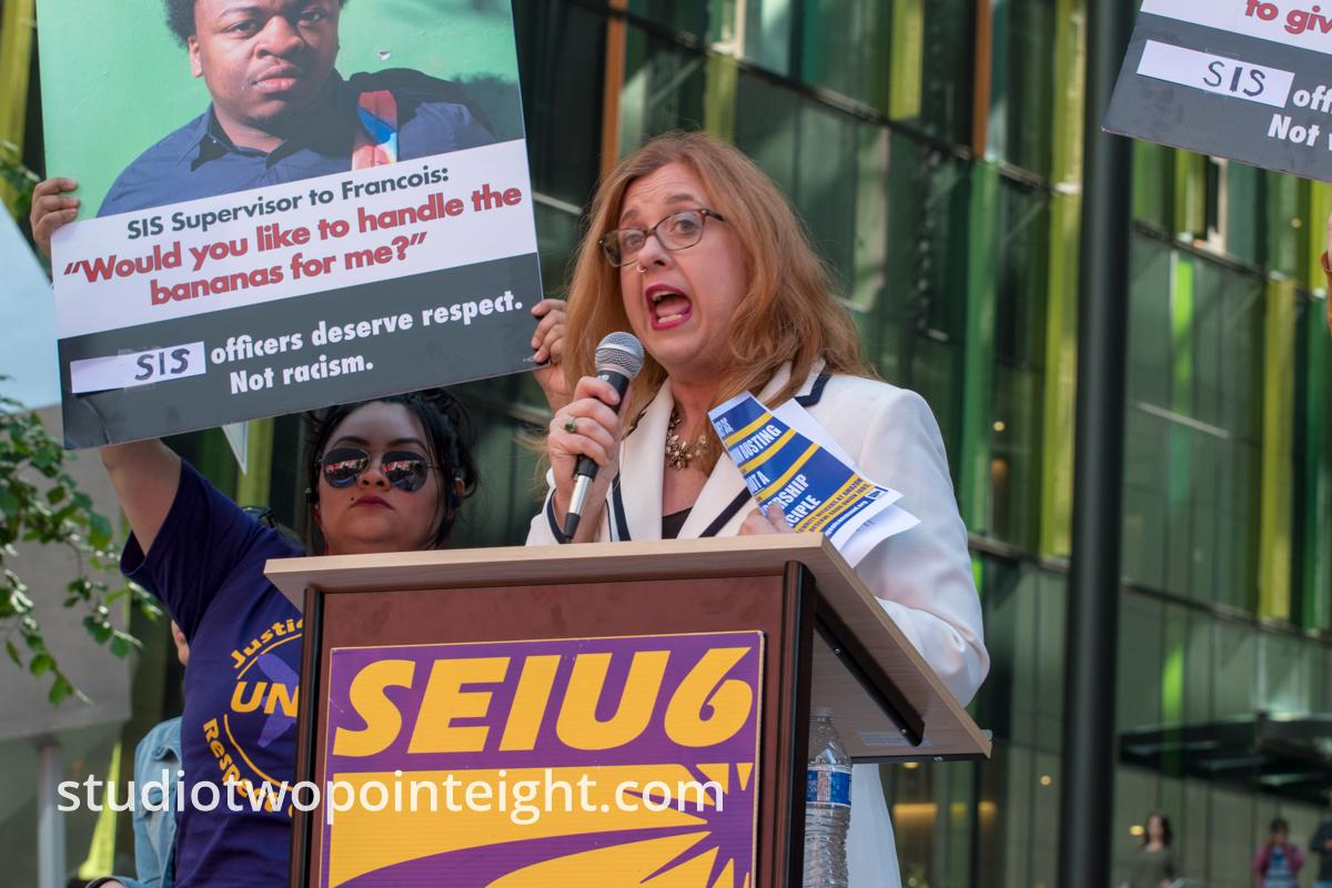 Seattle May 1, 2019 May Day Rally Seattle City Council Member Lisa Herbold Spoke Outside Amazon Headquarters