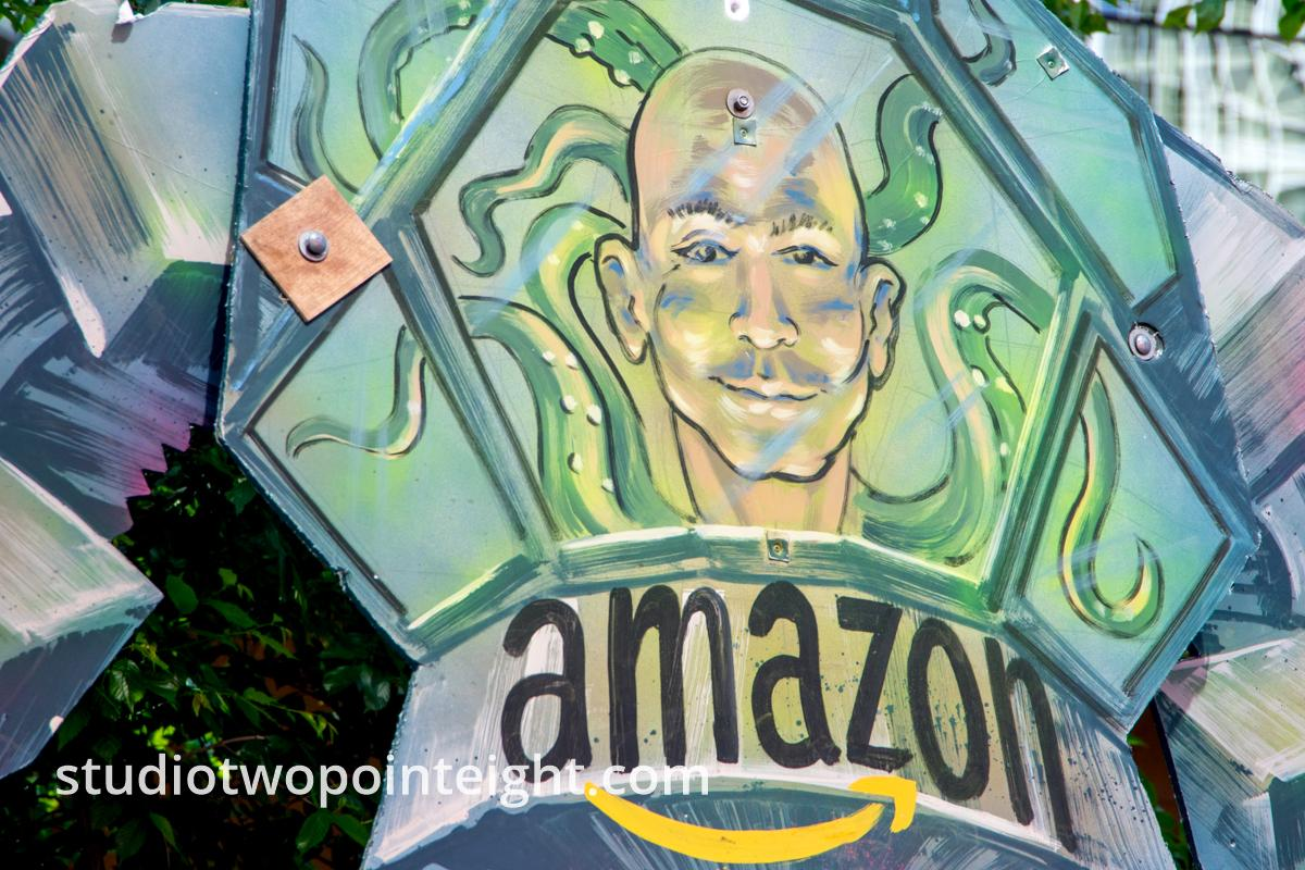 Seattle May 1, 2019 May Day Immigration and Workers Rally, Effigy of Jeff Bezos At Amazon Headquarters