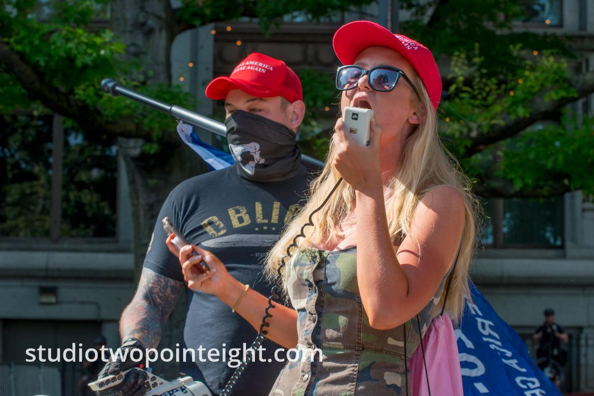 Seattle, July 14, 2019, Unite Against Political Violence, A Speaker Expressed Her Political Views