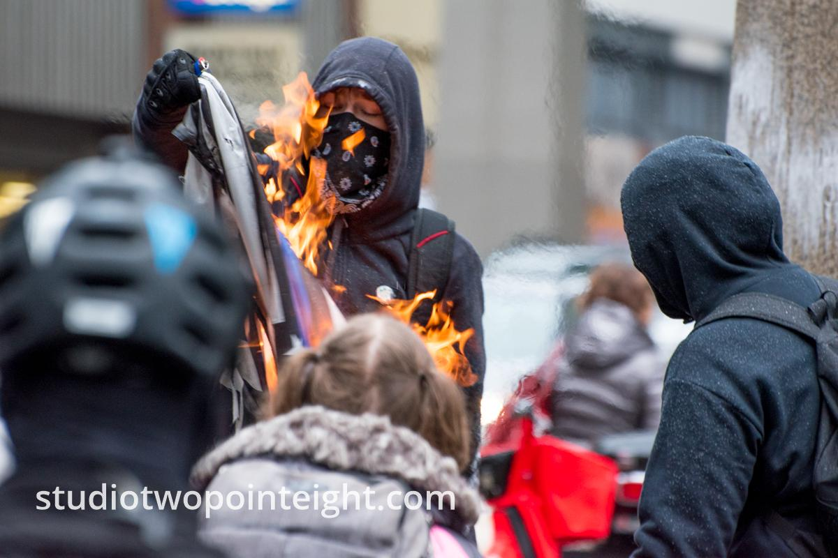 Studio 2.8, December 7, 2019, McGraw Square Seattle, Pearl Harbor Day, Gallery Of Anarcho-Communists Burning Blue Lives Matter Flag