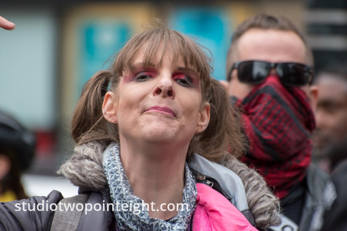 Studio 2.8, December 7, 2019, Pearl Harbor Day, McGraw Square Seattle, Shouting Counter Protester In Pink