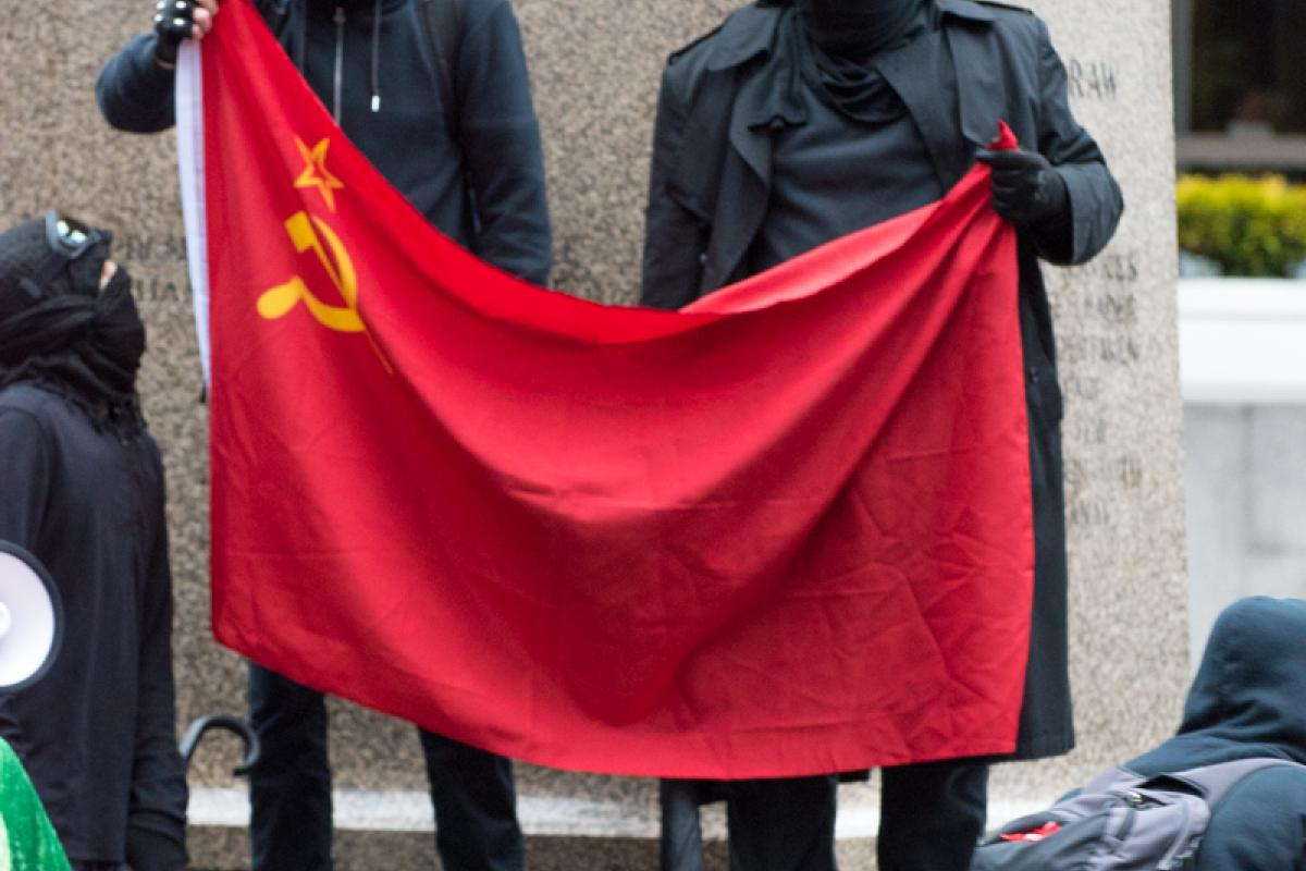 Studio 2.8, Pearl Harbor Day Commemoration Coverage, December 7, 2019, Anarchists Brandished a Soviet Style Communist Flag