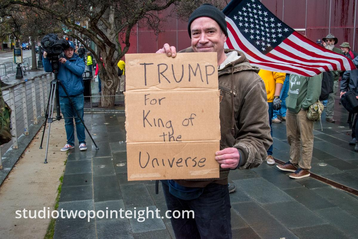 Studio 2.8, January 5, 2020, Seattle City Hall, Washington Three Percent, United Against Hate, Trump for King of the Universe Poster