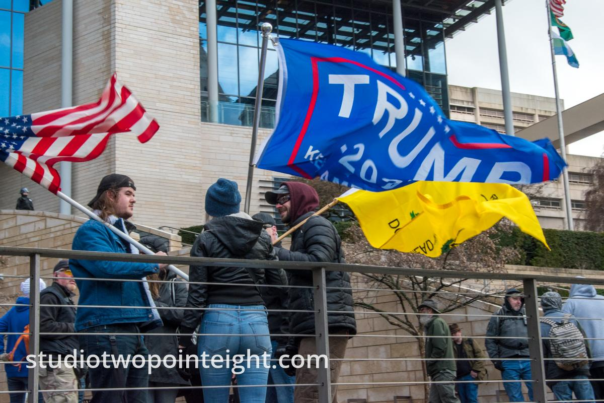 Studio 2.8, January 5, 2020, Seattle City Hall, Washington Three Percent, United Against Hate, Gallery of Flags