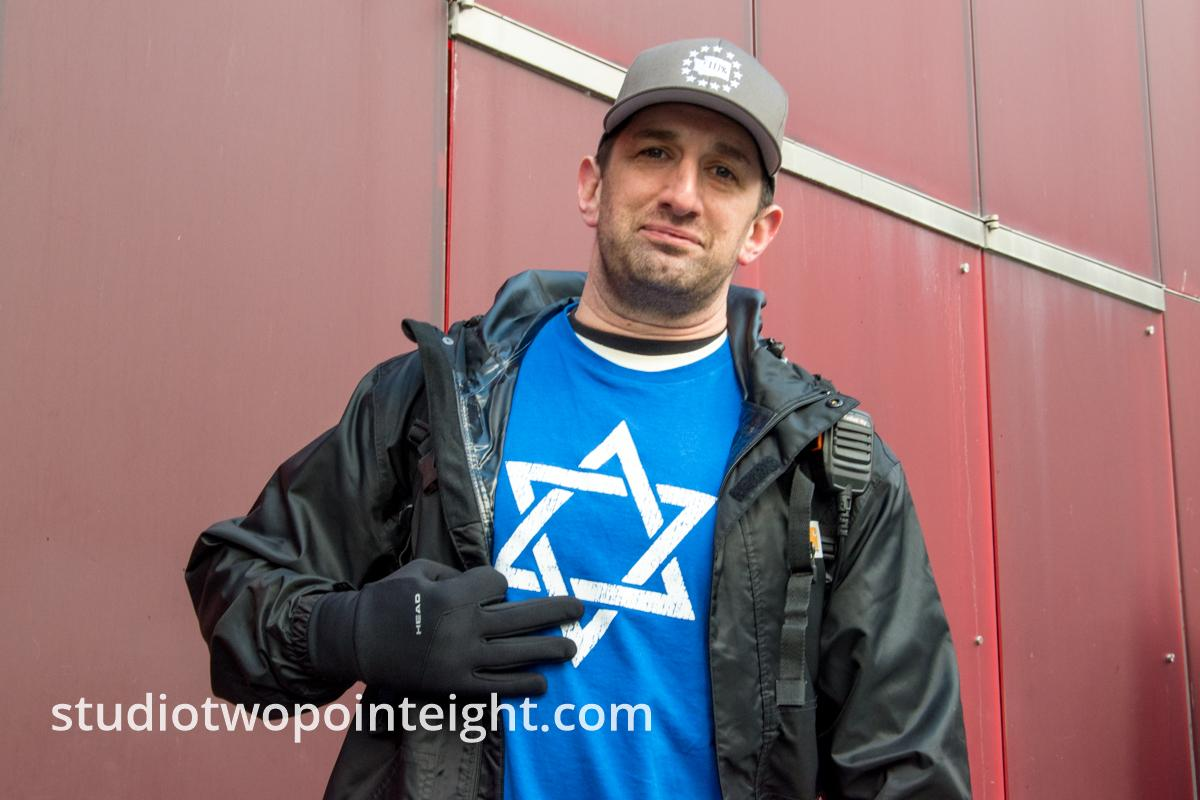 Studio 2.8, January 5, 2020, Seattle City Hall, Jewish Attendee with Star of David Shirt At Washington Three Percent United Against Hate Event