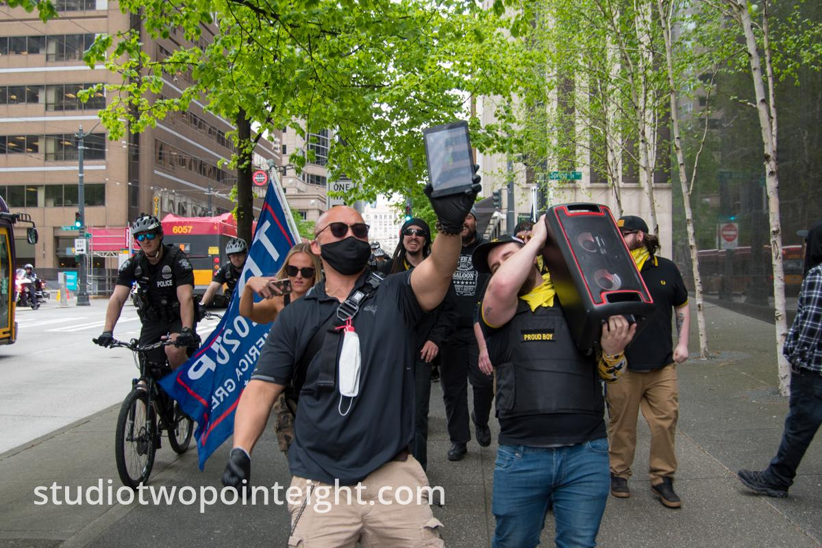 Studio 2.8, May 1, 2020, Seattle May Day End Coronavirus Lockdown Protest, Attendees Marched Through Seattle Streets