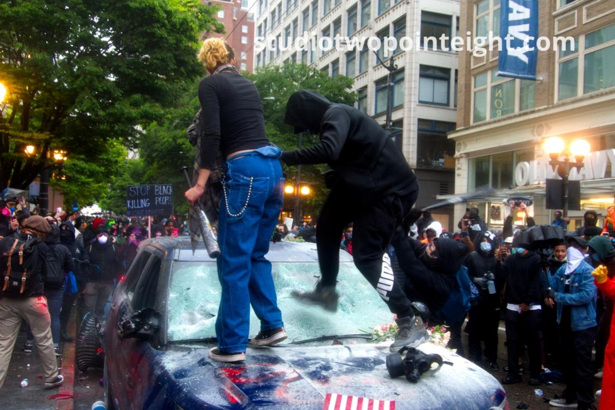 Studio 2.8, Seattle Protests, George Floyd, Black Lives Matter, Anarchists Destroy and Later Burn Seattle Police SUV Vehicle