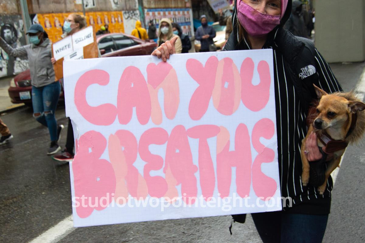 Studio 2.8, Seattle Protests, Black Lives Matter, George Floyd, May 30, 2020, Woman With Can You Breathe Poster