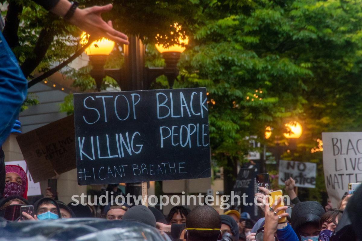 Studio 2.8, Seattle Protests, Black Lives Matter, George Floyd, May 30, 2020, Stop Killing Black People Sign Black Background With White Letters