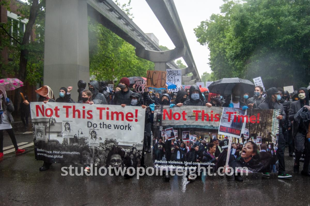 Studio 2.8, Seattle Protests, Black Lives Matter, George Floyd, May 30, 2020, Head Of March With Not This Time Banners