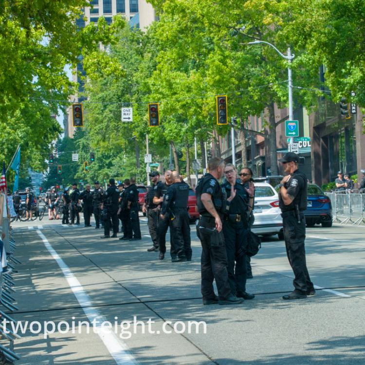 Seattle, August 18, 2018, Liberty or Death Rally Police Formed a Dense Sentry Line Around Counter Protesters