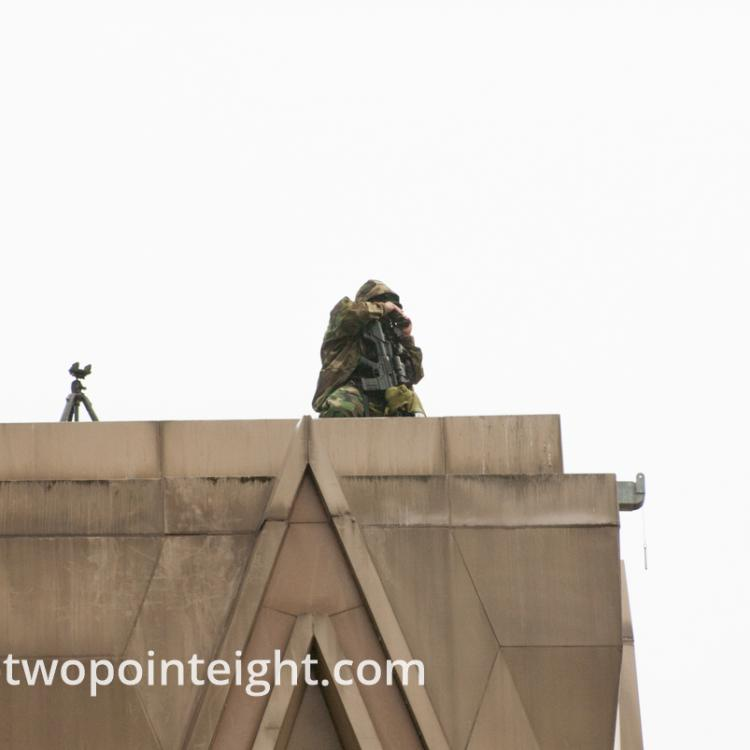 Seattle, Liberty or Death 2 Rally, December 1, 2018, County Building Rooftop AR-10 Rifle Armed Police Sniper