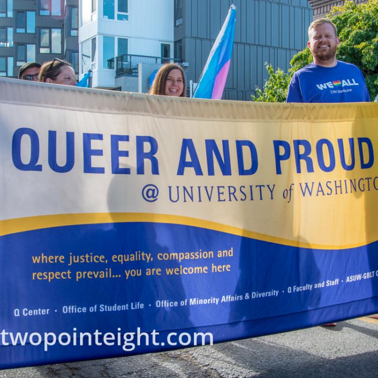 Seattle Trans Pride 2019, University of Washington Queer and Proud Banner