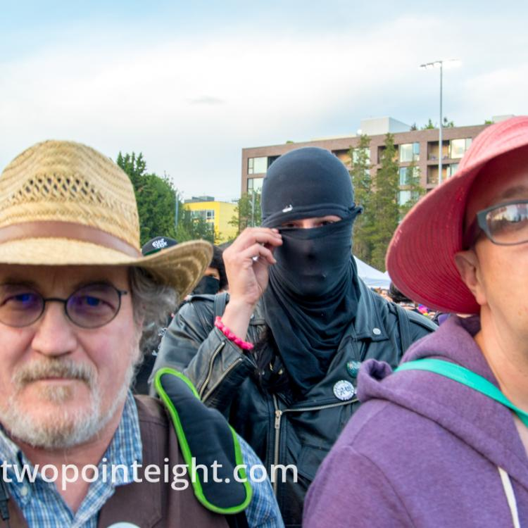 Seattle Trans Pride 2019, An Idle Taunting Masked Black Bloc Terrorist