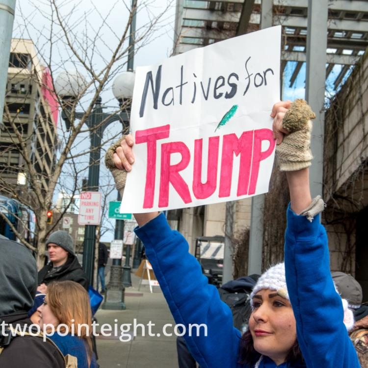 Studio 2.8, January 5, 2020, Seattle City Hall, Washington Three Percent, United Against Hate, Native American with Natives for Trump Poster