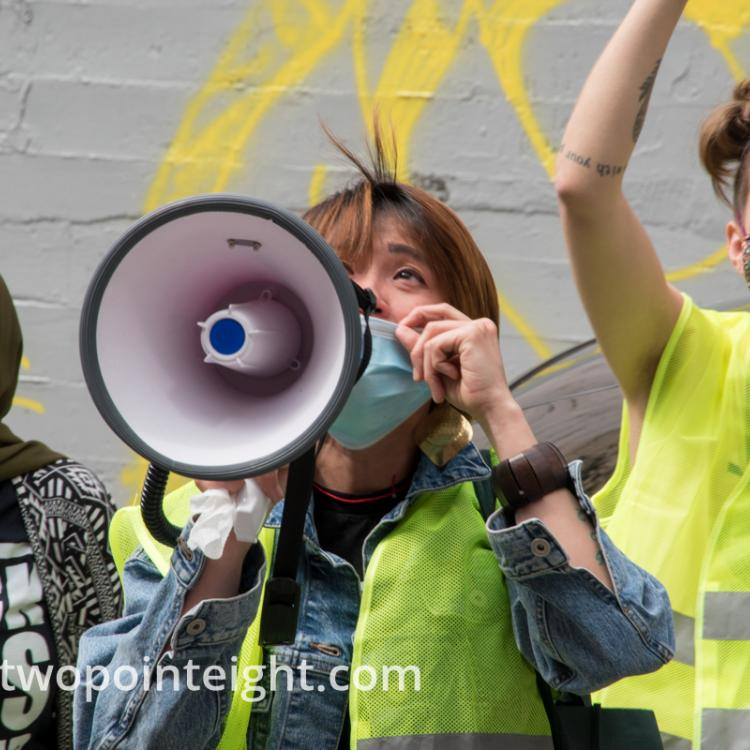 Studio 2.8, May 1, 2020, Seattle May Day Rent Strike Demonstrators Spoke With Seattle Apartment Dwellers Using a Bullhorn