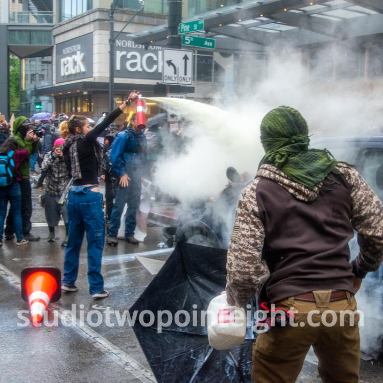 Studio 2.8, Seattle Protests, George Floyd, Black Lives Matter, Rioters Doused A Police SUV Before Burning The Vehicle