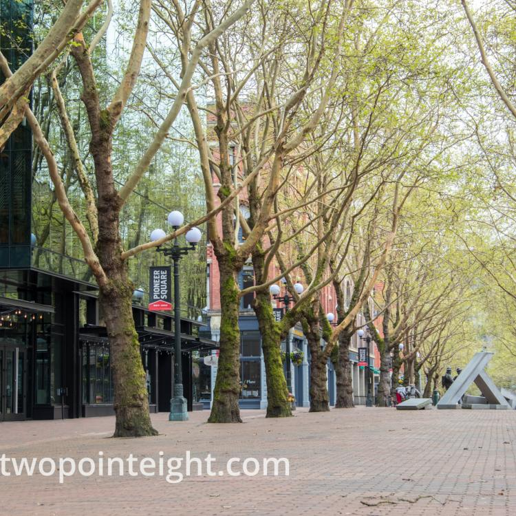 Studio 2.8 Documenting The Corona Virus Pandemic, April 18, 2020, The Occidental Park Mall Mostly Deserted
