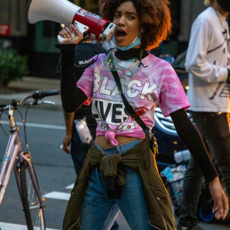 Seattle Protests, Black Lives Matter, July 2, 2020, Seattle Police West Precinct Demonstrator With MegaPhone