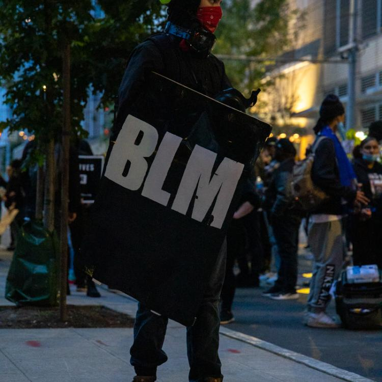 Studio 2.8, Seattle Protests, Black Lives Matter, July 2, 2020, Seattle Police West Precinct Protest With Shield Bearing BLM Acronym