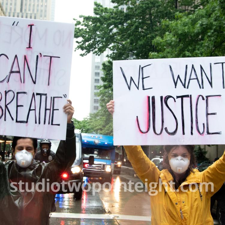 Studio 2.8, Seattle Protests, Black Lives Matter, George Floyd, May 30, 2020, I Cant Breathe And We Want Justice Posters