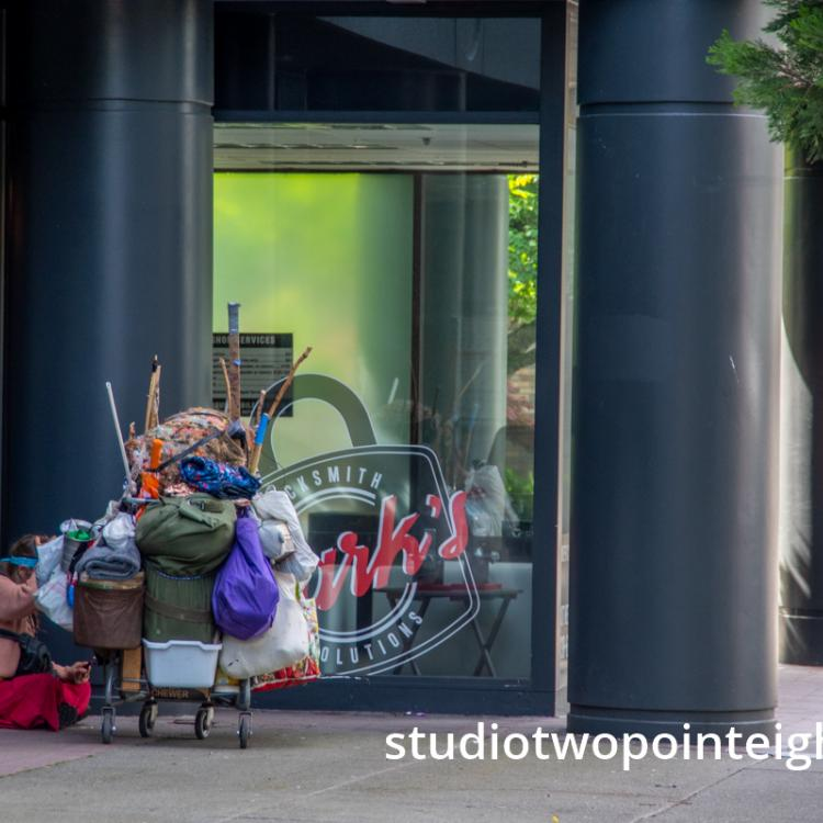 Studio 2.8 Documenting The 2020 Corona Virus Pandemic, People Living On The Street Outside Million Dollar Condominiums On Seattle's Second Avenue