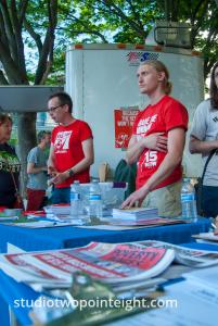 2014 Seattle May Day Protest, Socialist Alternative Party Fifteen Dollar Per Hour Wage Information Table