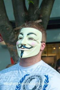 Seattle May Day Protest 2014, A Man Wearing A Guy Fawkes Mask