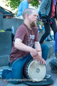 2014 Seattle May Day Protest, An Attended Played A Drum