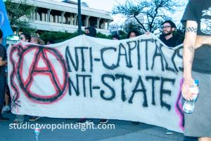 2014 Seattle May Day Protest, Anarchist Black Bloc Display Anti-Capitalist Anti-State Banner