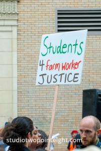 2015 Seattle May Day Immigrant Rally, Woman Held Students For Farm Worker Justice Sign